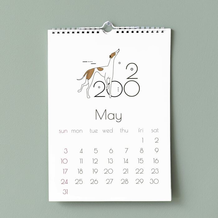 A5 Portrait Wiro Bound Calendars with Thumb Cut and Hanger