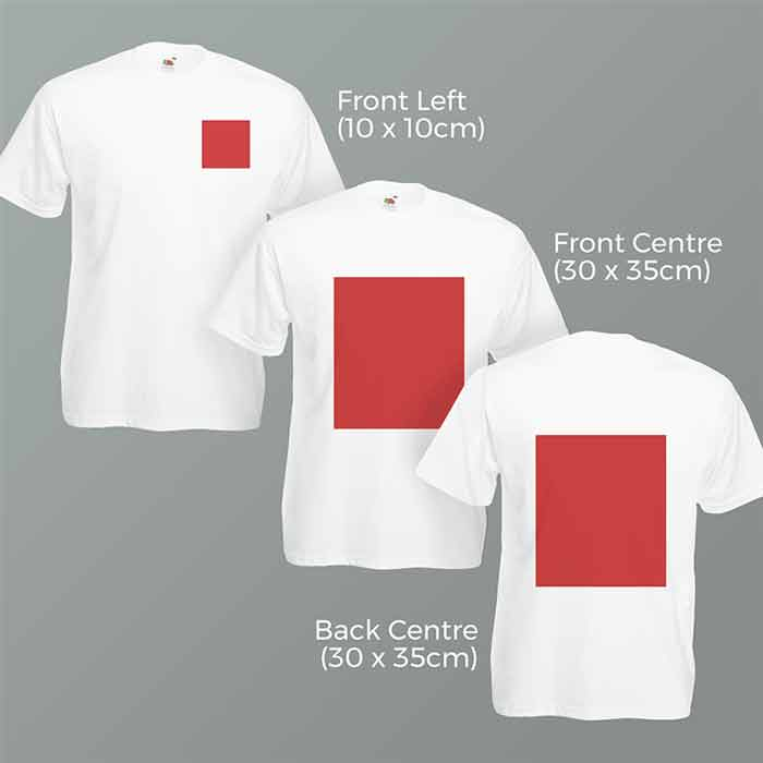 Promotional T-shirt Printable Areas