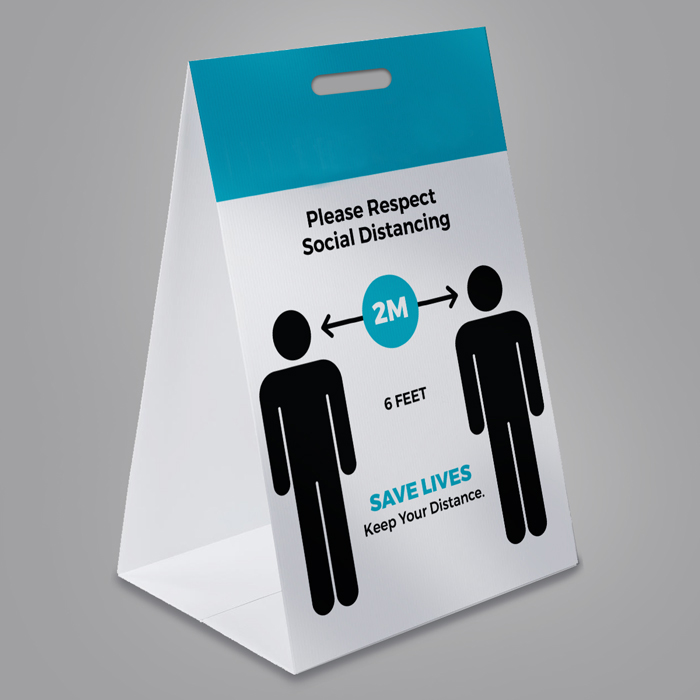 Social Distance Corrugated Plastic Floor Sign