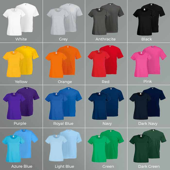 Promotional T-shirt Colours