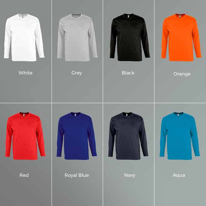 Long Sleeve T-Shirt colour options