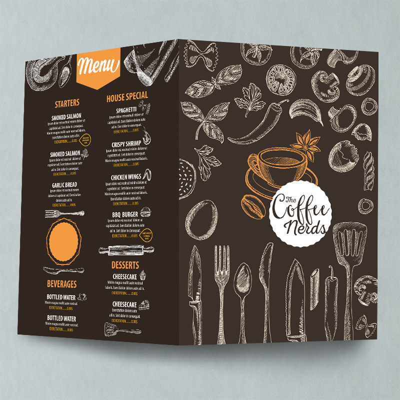 Creased leaflet menu