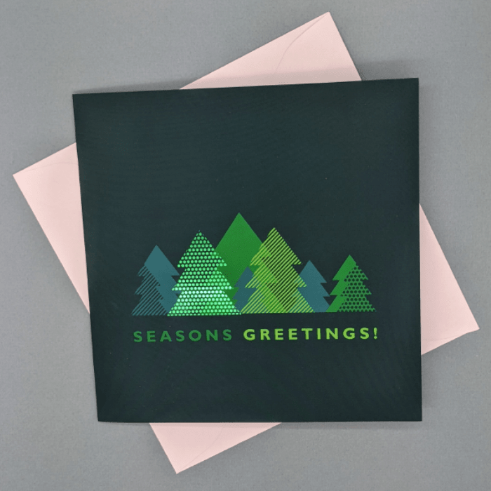 Square Greeting Card with Green Foil