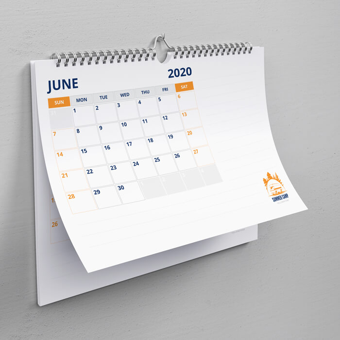 A5 Landscape Wiro Bound Calendars with Thumb Cut and Hanger
